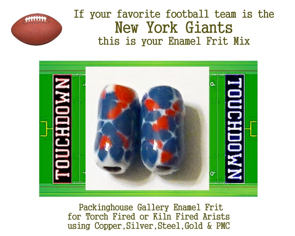 New York Giants Football, Enamel Glass Frit, Football Team Colors, Football Spirit and Pride,  Football Jewlery and Gifts