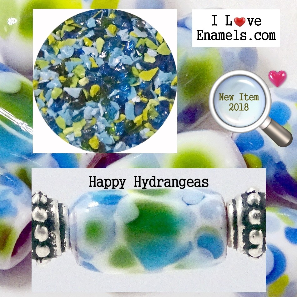Happy Hydrangeas,  The Garden Flowers Collection,  Enamel Frit made by  I Love Enamels.com