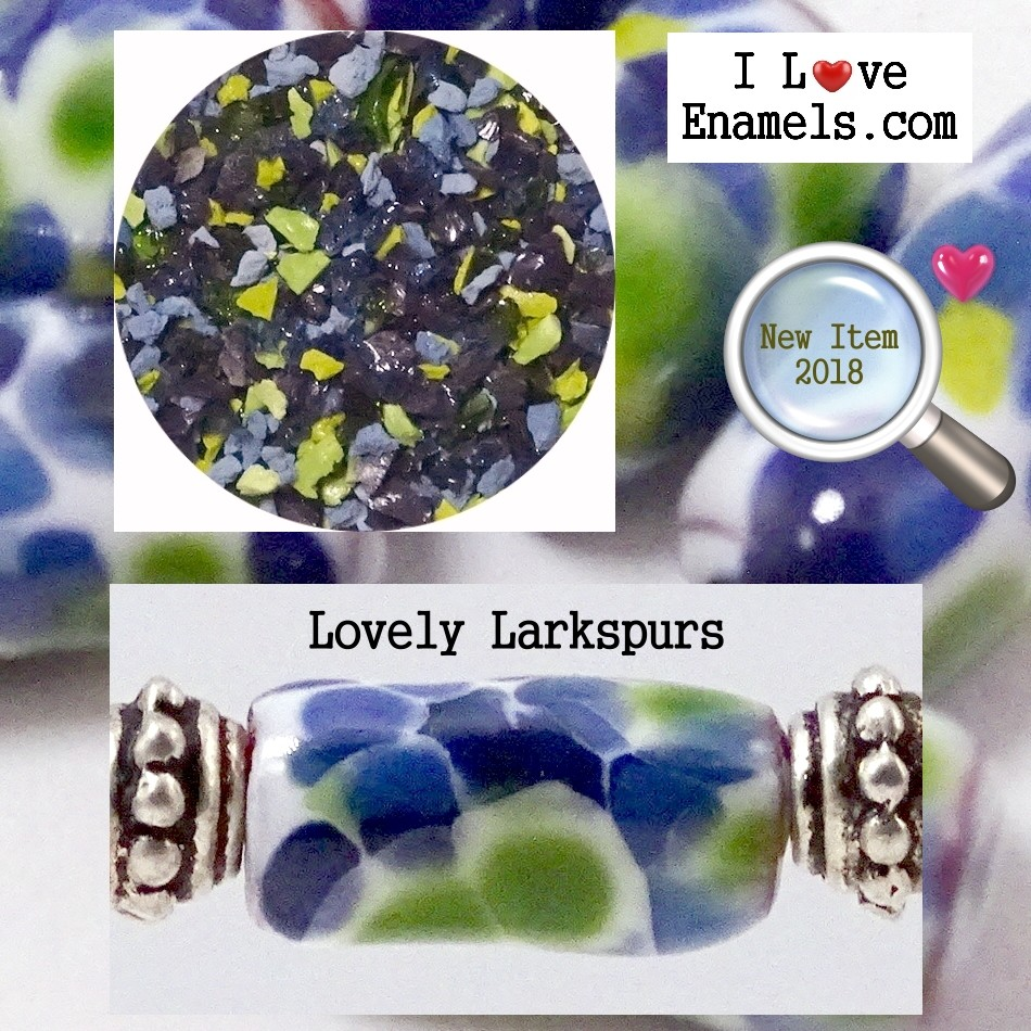 Lovely Larkspurs,  The Garden Flowers Collection,  Enamel Frit made by  I Love Enamels.com