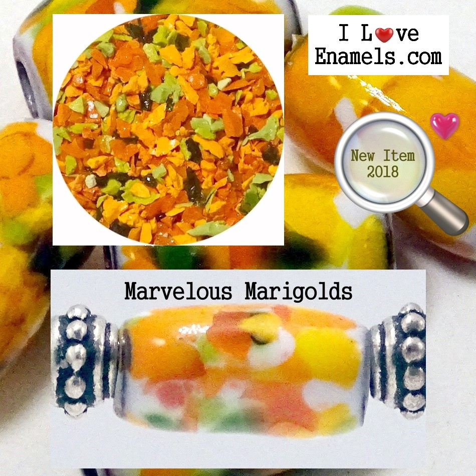 Marvelous Marigolds,  The Garden Flowers Collection,  Enamel Frit made by  I Love Enamels.com