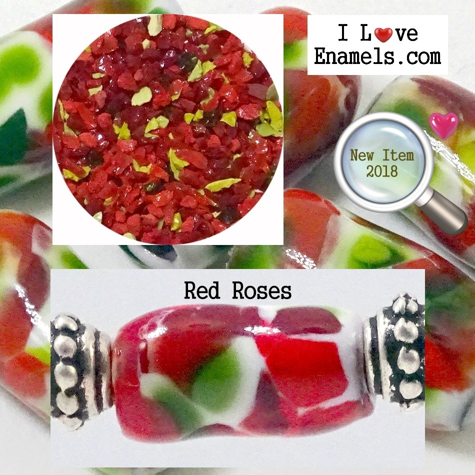 Red Roses,  The Garden Flowers Collection,  Enamel Frit made by  I Love Enamels.com