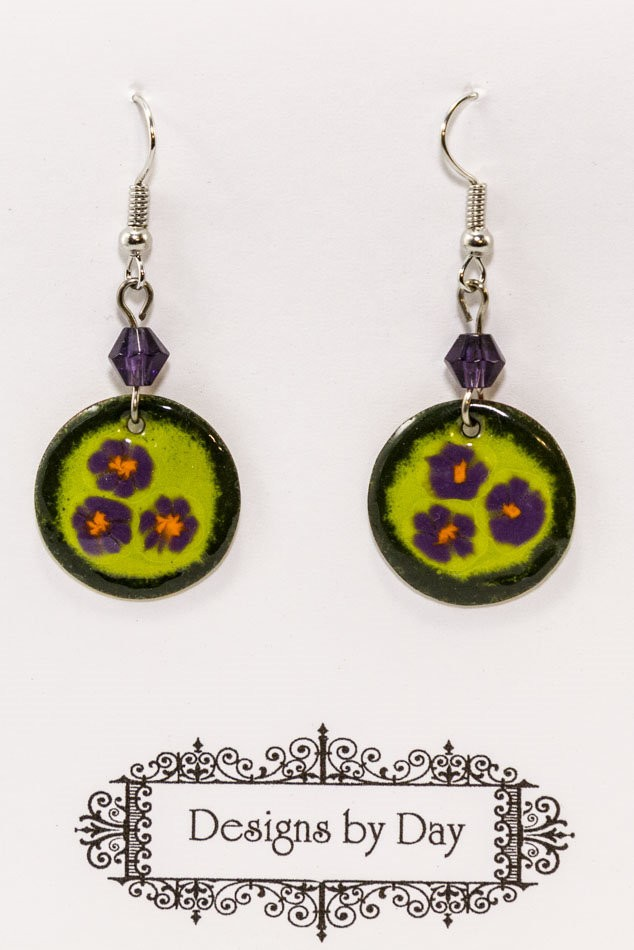 Enameled Disc  Earrings (Handmade Torch Fired Enamel Beads)