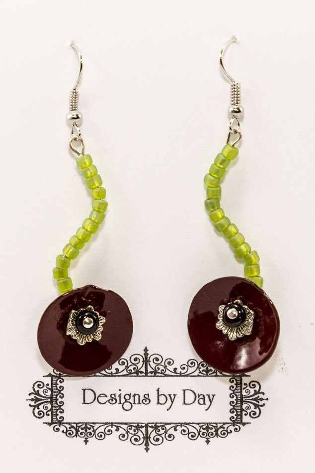Poppy Flower Earrings (Handmade Torch Fired Enamel Flowers)