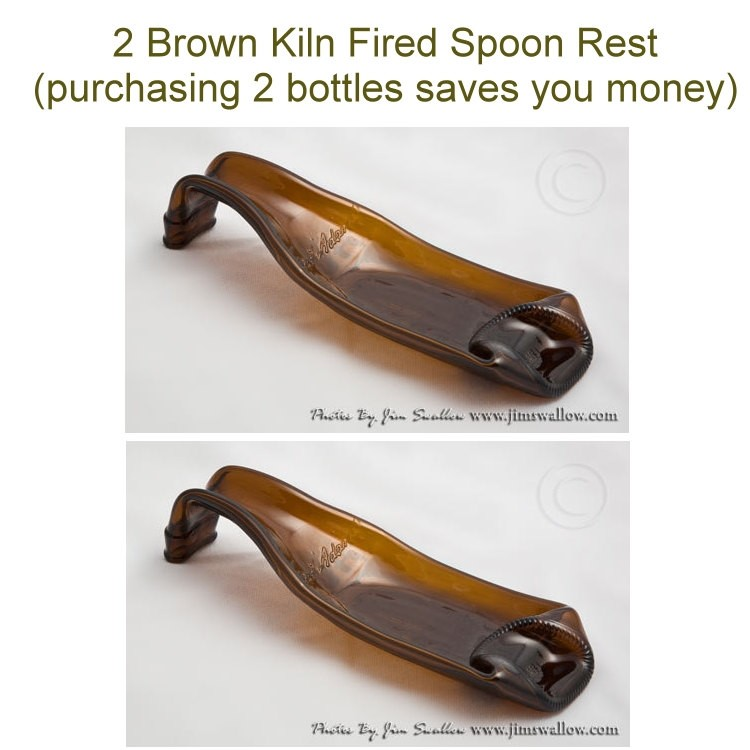 2 Brown Kiln Fired Glass Bottle Spoon Rest