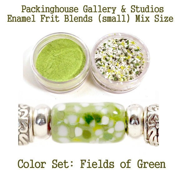 Fields of Green Color Enamel Frit Blends for Torch Fired Copper Enamel Beads for Artists, Metalsmiths & Enamelist Color: Fields of Green