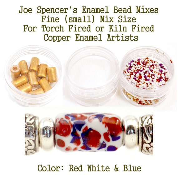 Red White Blue Enamel Bead Frit with base and Hand Cut Copper Beads for metal artist using a torch or kiln