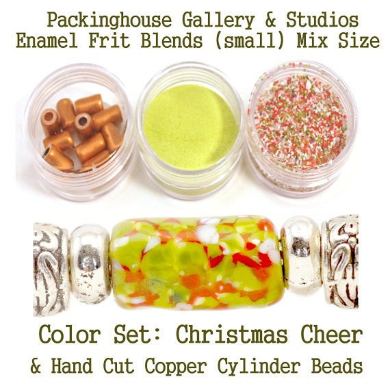 Christmas Cheer Enamel Bead Frit with hand made copper cylinder beads for artist using a torch or kiln to create with metals