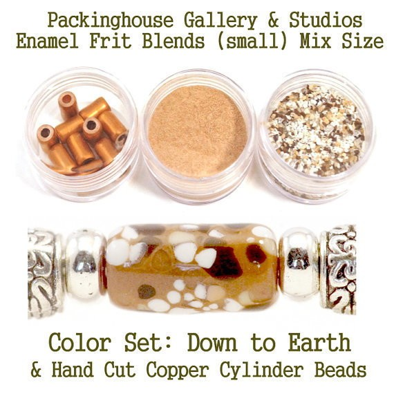 Down to Earth Enamel Bead Frit with hand made copper cylinder beads for artist using a torch or kiln to create with metals