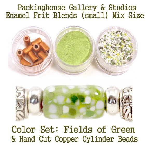 Fields of Green Enamel Bead Frit with hand made copper cylinder beads for artist using a torch or kiln to create with metals