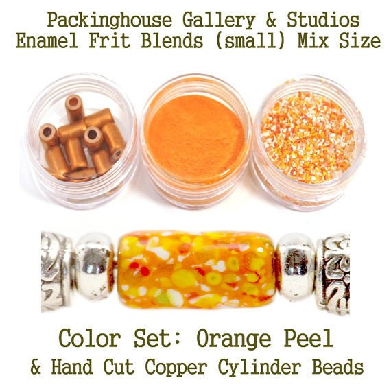 Orange Peel Enamel Bead Frit with hand made copper cylinder beads for artist using a torch or kiln to create with metals