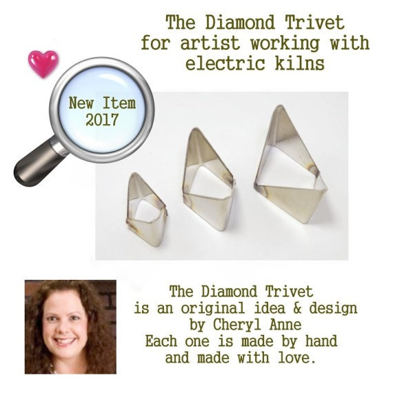 Cheryl Anne's  Diamond Trivets (Set of 3) Small Medium & Large Trivet, for artist using an electric kiln, enamels, pottery, pmc, metal artist offered by Packinghouse Gallery