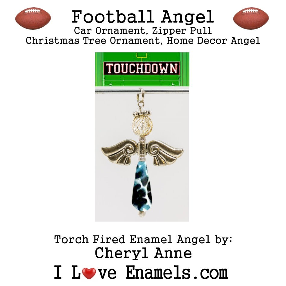 Carolina Panthers  Football Angel, Torch Fired Enameled Angel, Angel Necklace,Angel Car Ornament, Christmas Tree Angel Ornament, Zipper Pull, Fan Pull