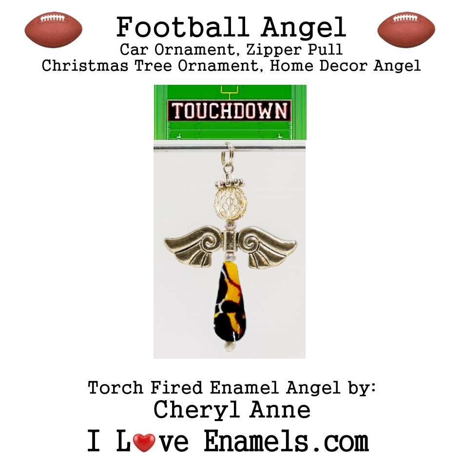 Denver Broncos Football Angel, Torch Fired Enameled Angel, Angel Necklace, Angel Car Ornament, Christmas Tree Angel Ornament, Zipper Pull, Fan Pull