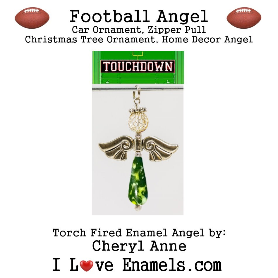 Green Bay Packers Football Angel, Torch Fired Enameled Angel, Angel Necklace, Angel Car Ornament, Christmas Tree Angel Ornament, Zipper Pull, Fan Pull