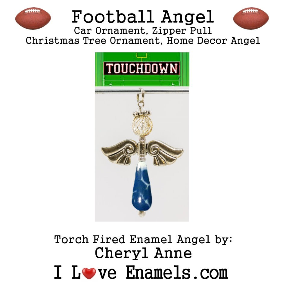 Indianapolis Colts Football Angel, Torch Fired Enameled Angel, Angel Necklace, Angel Car Ornament, Christmas Tree Angel Ornament, Zipper Pull, Fan Pull
