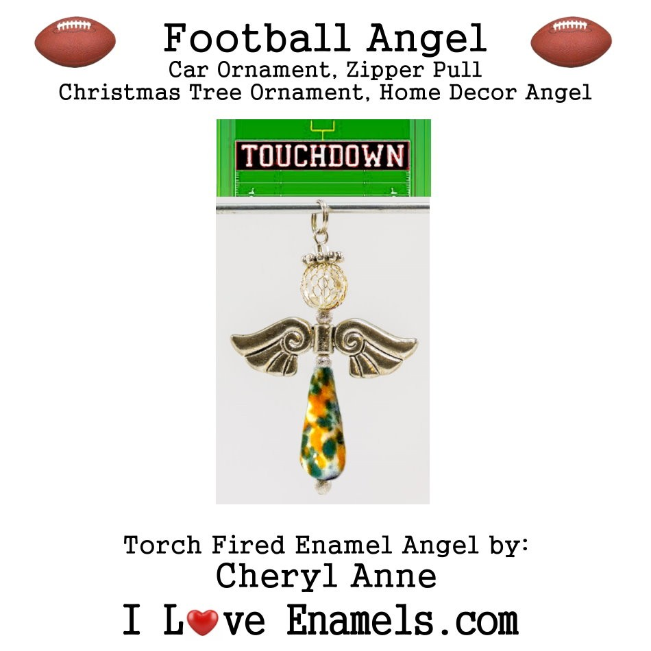 Miami Dophins Football Angel, Torch Fired Enameled Angel, Angel Necklace, Angel Car Ornament, Christmas Tree Angel Ornament, Zipper Pull, Fan Pull
