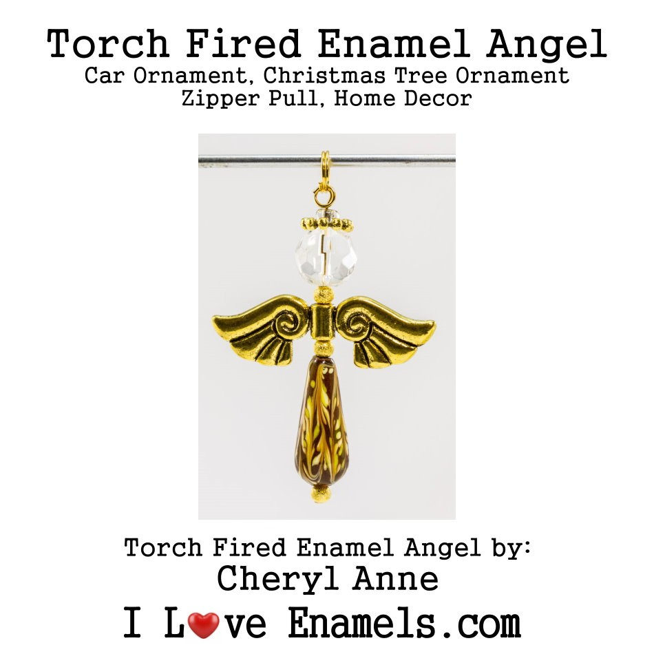 Lemonade Colored Angel on Orange Base, Torch Fired Enameled Angel, Angel Necklace, Angel Car Ornament, Christmas Tree Angel Ornament, Zipper Pull, Fan Pull