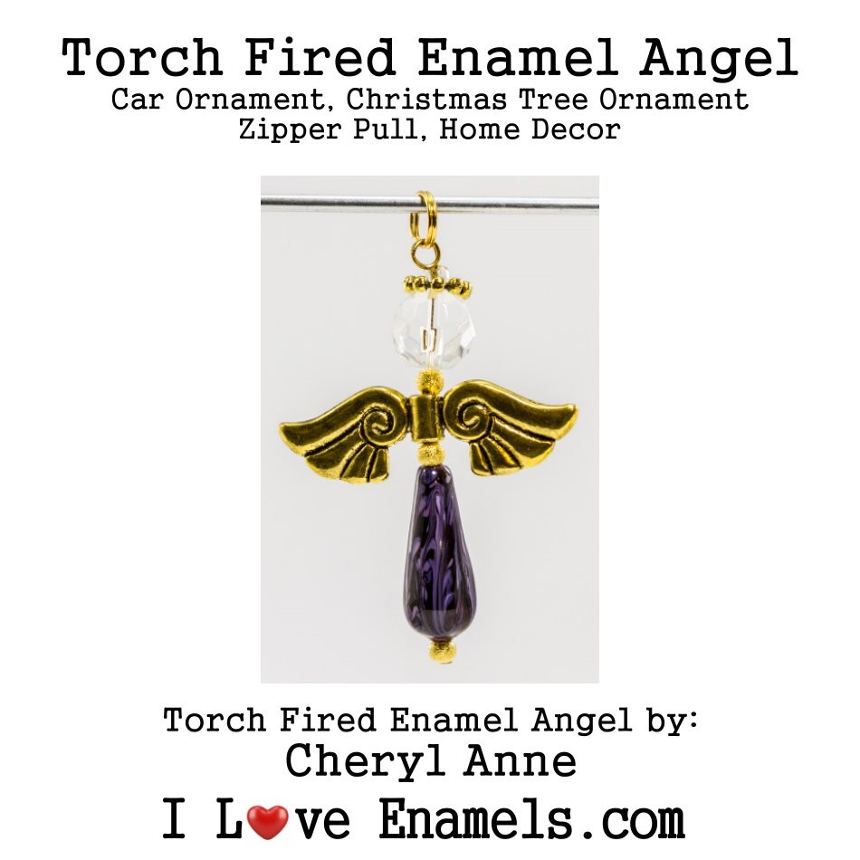 Royal Purple, Grape Jelly Enamel Mix, Purple Colored Angel on Orange Base, Torch Fired Enameled Angel, Angel Necklace, Angel Car Ornament, Christmas Tree Angel Ornament, Zipper Pull, Fan Pull