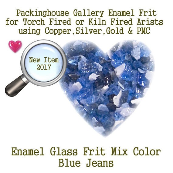 Blue Jeans, 2 oz. Bead Frit, Glass Frit, Enamel Frit, Copper, Gold, Silver,PMC artists, torch fired or kiln fired processes to make beads