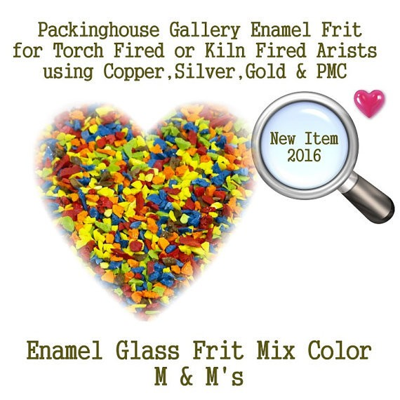 M & M's, 2 oz. Enamel Glass Frit for Copper, Gold, Silver and PMC artists using torch fired or kiln fired processes to make beads