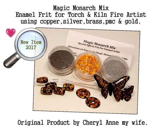 Magic Monarch Enamel Mix, Butterfly Mix by Cheryl Anne, Enamel Glass Frit, for Copper, Gold, Silver, PMC. Enamel, Packinghouse Gallery