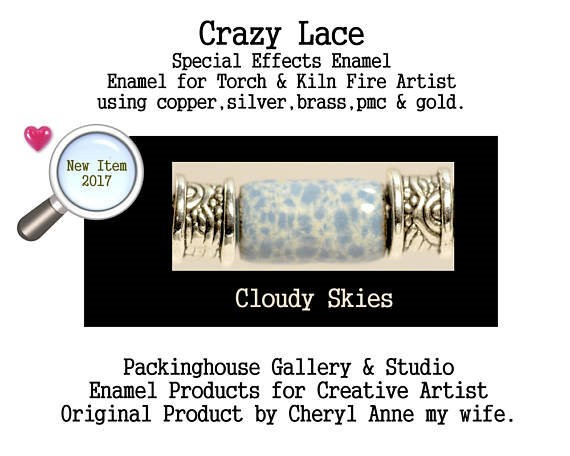 Cloudy Skies Special Effects Enamel by Cheryl Anne, Enamel Mix, for Copper, Gold, Silver, PMC. Enamel, Packinghouse Gallery