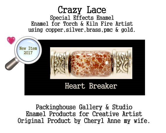 Heart Breaker Special Effects Enamel by Cheryl Anne, Enamel Mix, for Copper, Gold, Silver, PMC. Enamel, Packinghouse Gallery