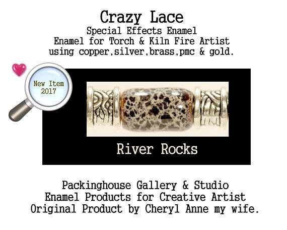 River Rocks Special Effects Enamel by Cheryl Anne, Enamel Mix, for Copper, Gold, Silver, PMC. Enamel, Packinghouse Gallery