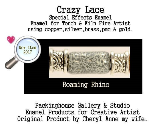 Roaming Rhino Special Effects Enamel by Cheryl Anne, Enamel Mix, for Copper, Gold, Silver, PMC. Enamel, Packinghouse Gallery