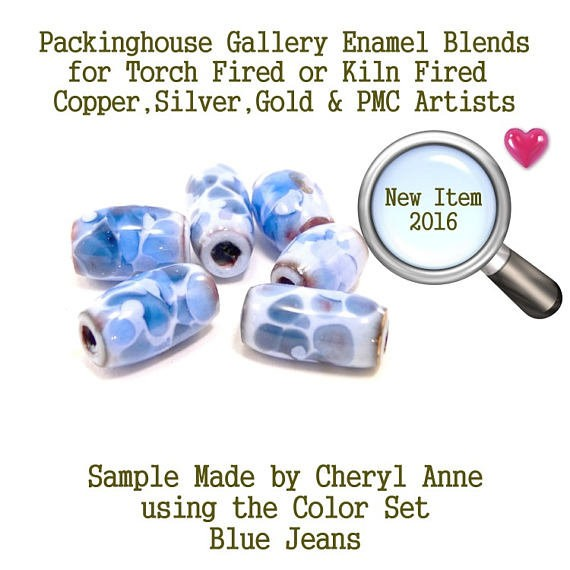 Blue Jeans, Enamel Frit, Glass Frit, for Copper, Gold, Silver, PMC artists. Thompson Enamel, Torch Fire or Kiln Fire