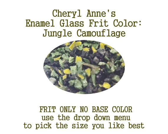 Jungle Camouflage, Enamel Glass Frit (Frit Only no Base Color) Enamel Frit for Artist using torches or kilns by Cheryl Anne