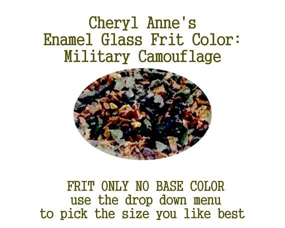 Military Camouflage, Enamel Glass Frit (Frit Only no Base Color) Enamel Frit for Artist using torches or kilns by Cheryl Anne