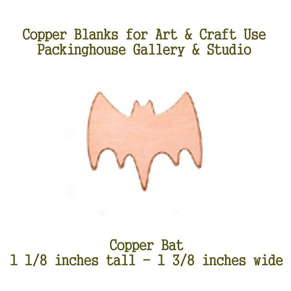 Bat, Copper Blank Shape cut outs made of copper for metal working, enameling and jewerly design, metalsmiths