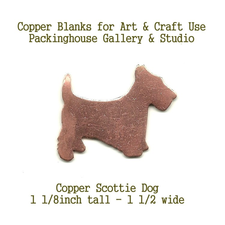 Scottie Dog, copper blank shape, cut out made of copper for metal working, enameling and jewerly making, leather working