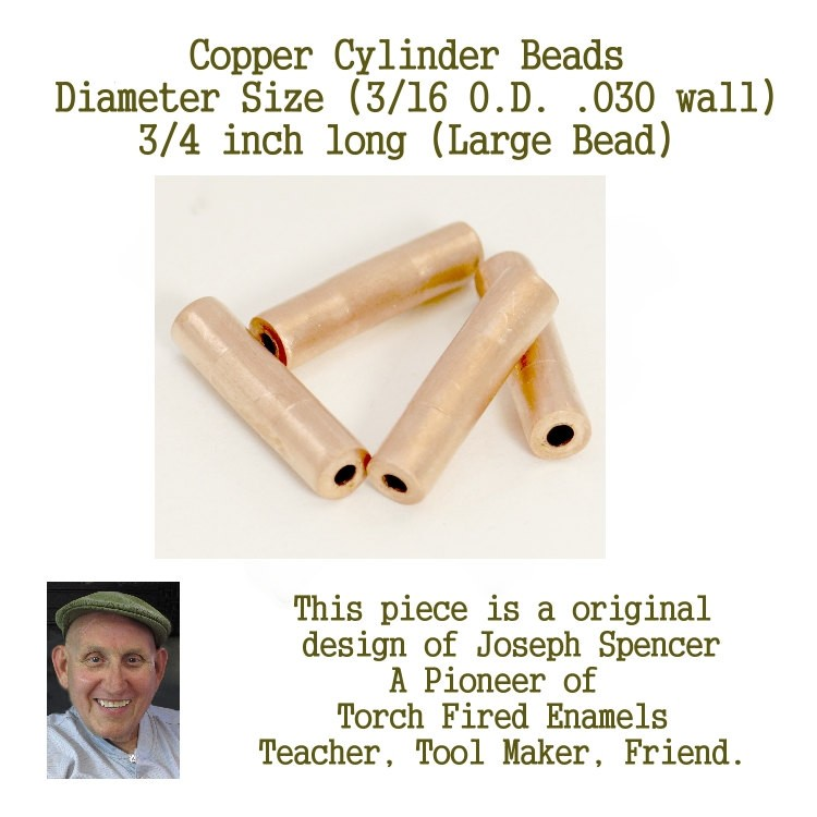 Small Hole, Large Length Cylinder Beads,for enamel and glass artists  3/16 inch by 3/4 inch long hand cut Joe Spencer Jim Swallow