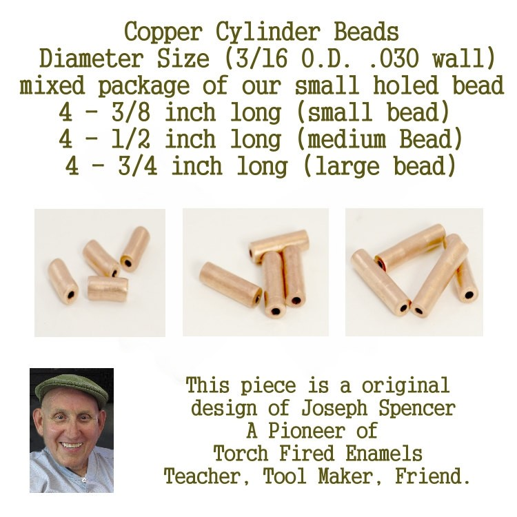 Small Hole, Mix Cylinder Beads for metalsmiths, enamel artists and designers (mixed pack) hand cut copper beads large holed beads