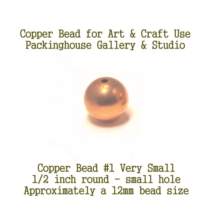 12 mm Copper Bead 1/2 inch (small hole), Copper Beads or Ball to Enamel Bead Very Small Size for Torch Fired Enamel or Glass Artist Copper Ball Beads