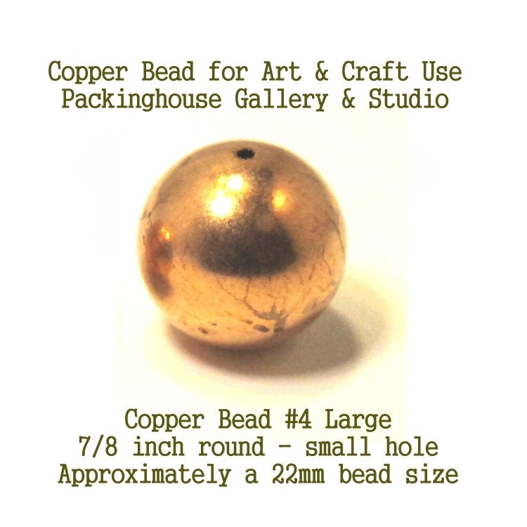 22 mm Copper Bead 7/16 inch (small hole), Copper Beads Balls to Enamel Bead Large Size for torch fired enamel or glass artist Copper Ball Beads