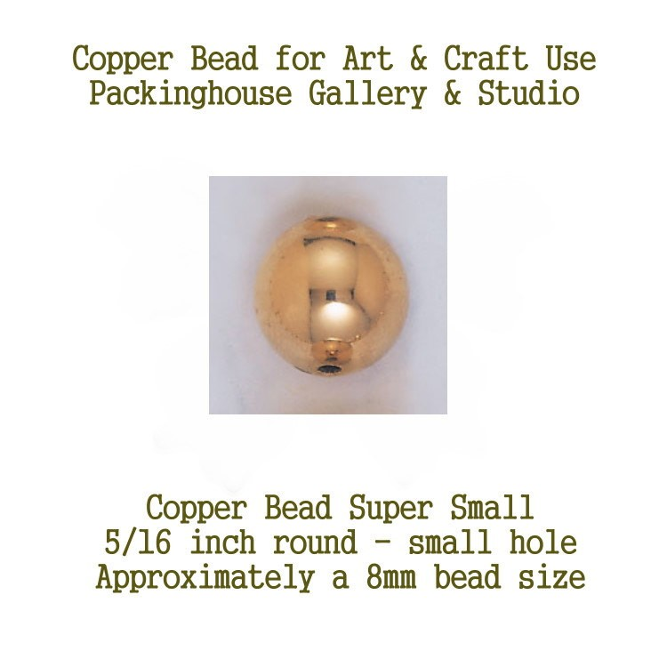 8 mm Copper Bead 5/16 inch (small hole), Copper Round Bead (Super Small Size) Can be used by Glass artists, Enamel artist and metal smiths, torch fire, kiln fired