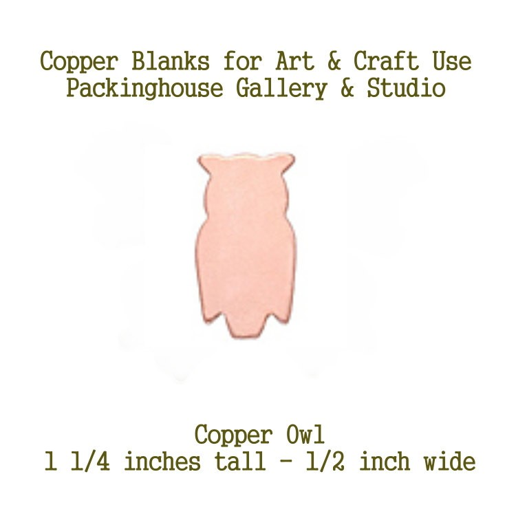 Owl, Copper Blank Shape made of copper for metalworking, enameling, etching, engraving, leatherworking and jewelry making