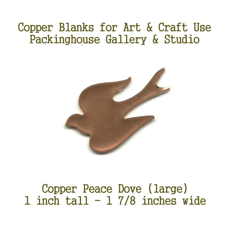 Copper Shape Peace Dove (large) Blank Shape cut outs made of copper for metal working, enameling and jewerly making
