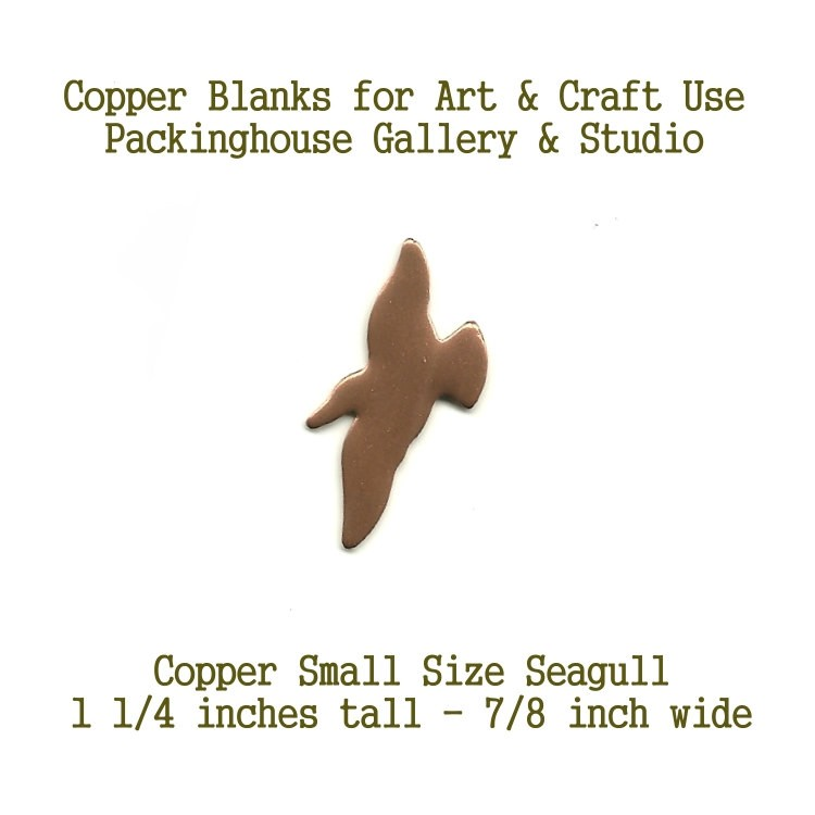 Flying Seagull Small Size, blank metal cut out made of copper for metal working, enameling and jewerly making