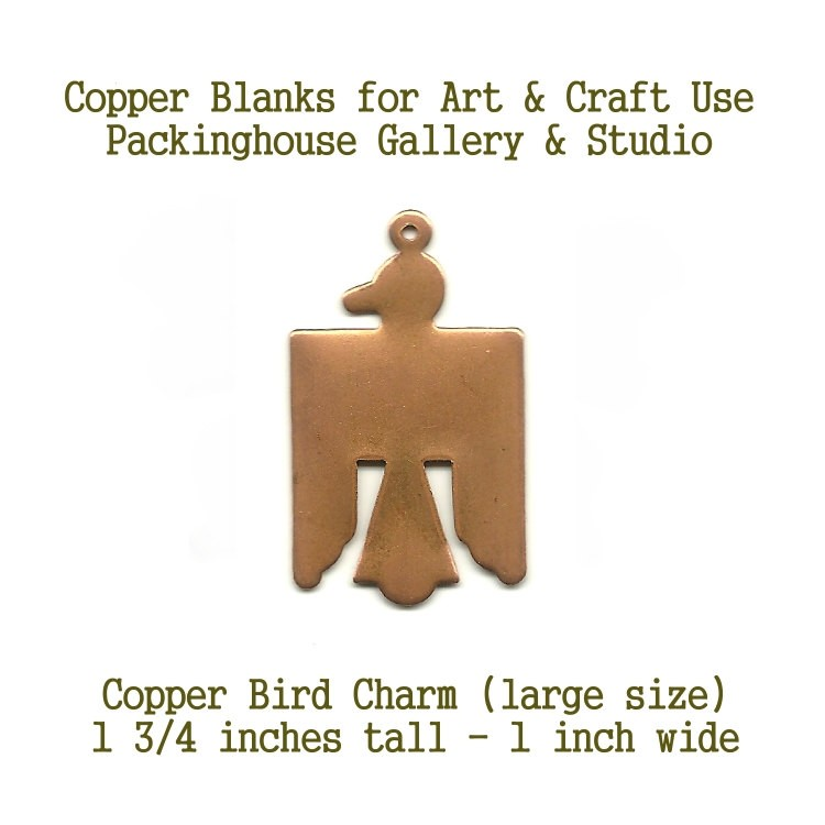 Large Thunder Bird Charm blank metal cut out made of copper for metal working, enameling and jewerly making
