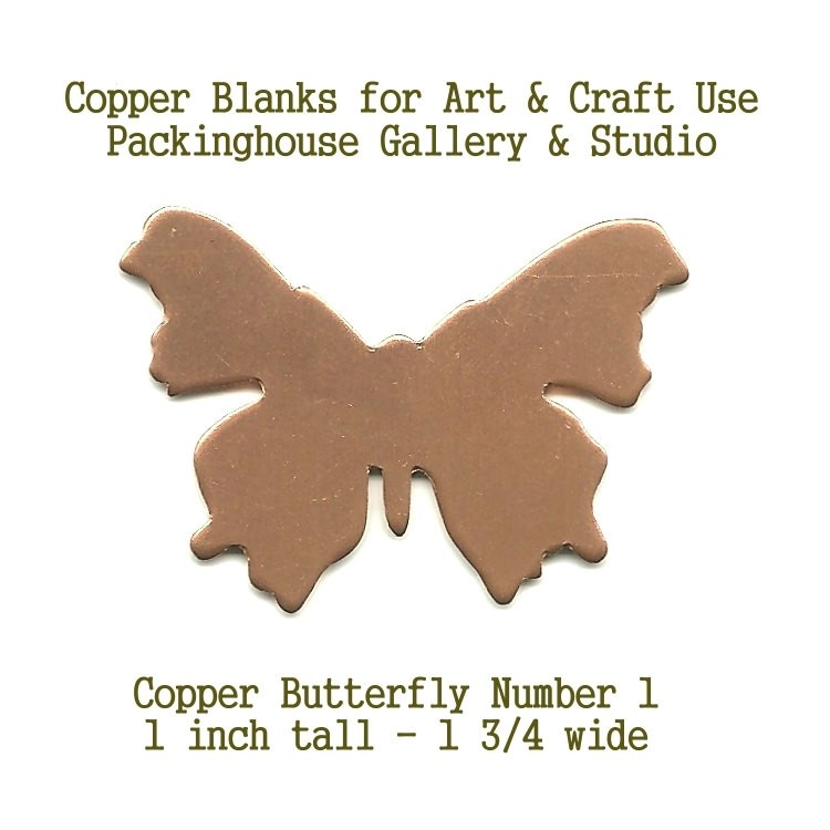 Butterfly #1 Large Size, Copper, Butterfly, Blank Shape cut outs made of copper for metalworking, enameling, engraving, etching, leatherworking and jewerly making