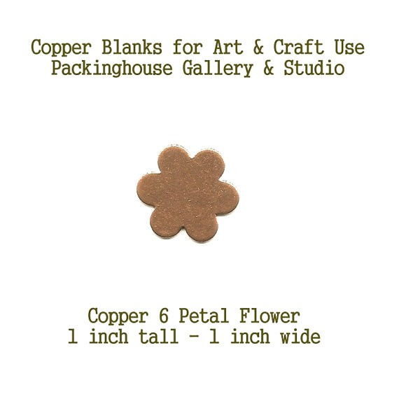 6 Petal Flower, Copper Blank Shape cut outs made of copper for metal working, enameling and jewerly making