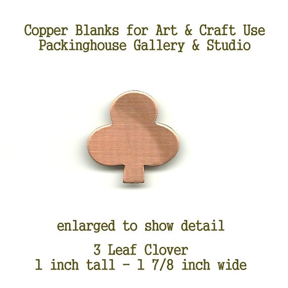 3 Leaf Clover, copper metal shape, Blank Shape cut outs made of copper for metal working, enameling and jewerly making