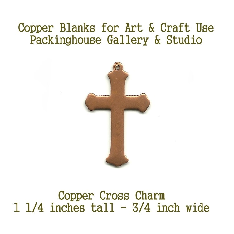 Copper (Medium Size ) Enamel Cross Charm shape blank metal cut out made of copper for metal working, enameling and jewerly making