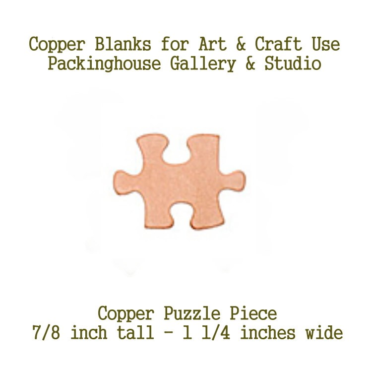 Puzzle Piece, Copper Blank Shape cut outs made of copper for metal working, enameling and jewerly making, general crafting for metalsmiths