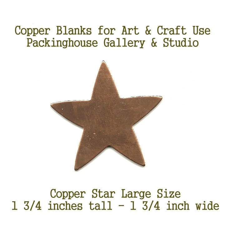 Star Large Size, Copper Enamel Large Star shape blank metal cut out made of copper for metal working, enameling and jewerly making