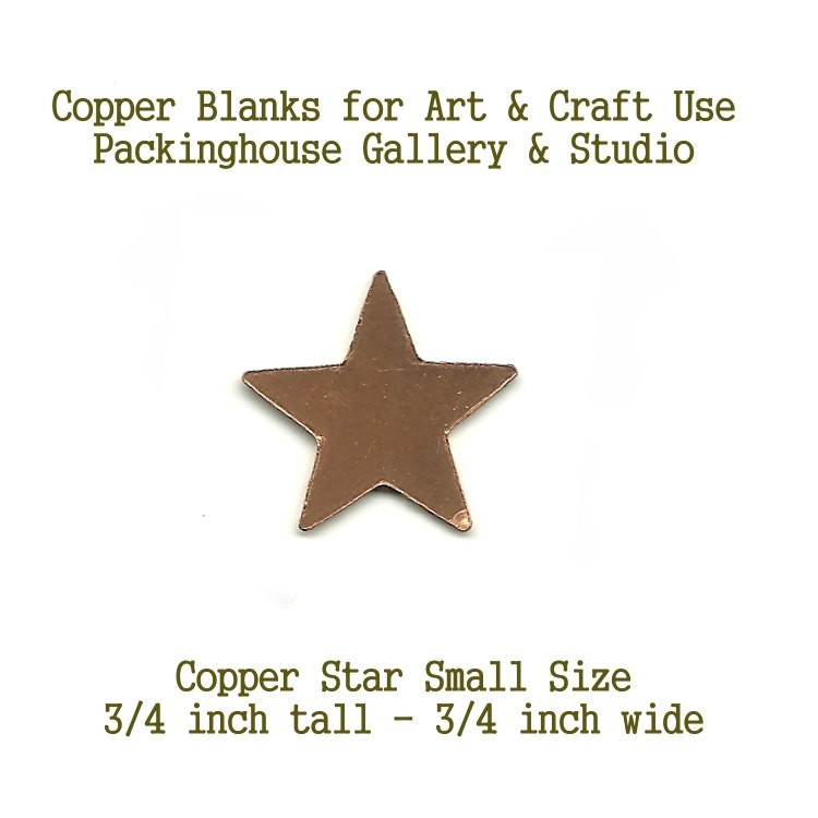 Star, Small Size, copper metal shape blank metal cut out made of copper for metal working, enameling and jewerly making, leatherworking